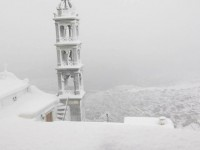Snow covered church in Tinos