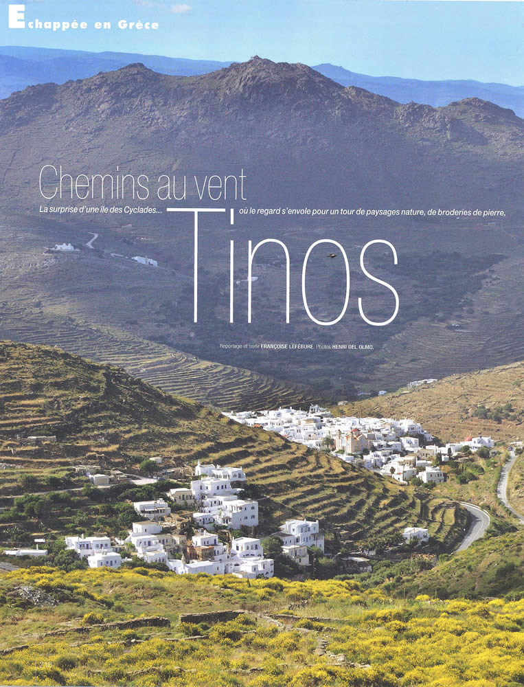 """Côté sud magazine (June-July summer edition) visited Tinos island and was """"surprised"""" by it's multi talents in it's 25th anniversary issue! And of course, Loutra rental house was there!"""