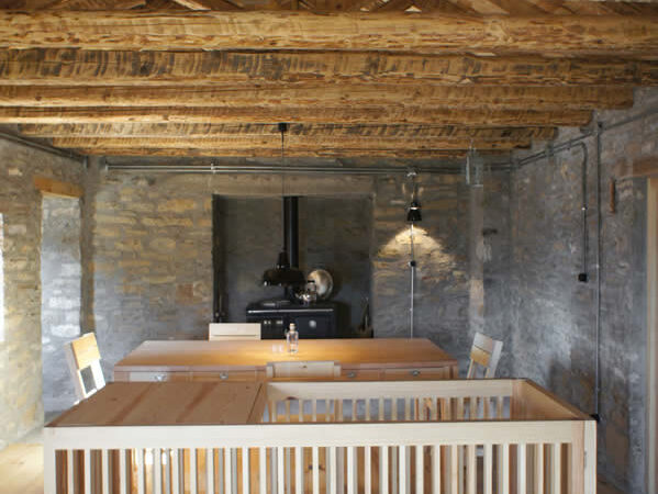 living room, the staircase | traditional stone-made house in Zagori, Epirus