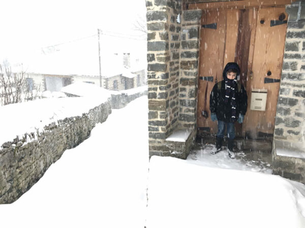 snowing n Dilopho village | traditional stone-made house in Zagori, Epirus